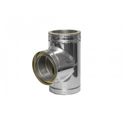 Te de registro 80 mm de doble pared en acero inoxidable 316L Dinak DW Pellets