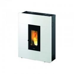 Estufa de pellets PASILLO 8 kW Eider Biomasa con mando a distancia color blanco