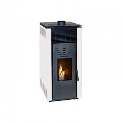 Estufa de pellets sin electricidad con ventilación de 10 kW Eider CERO R.E.M Ventilada color blanco