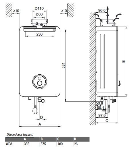 Dimensiones Calentador estanco bajo Nox Junkers Hydronext 2400 S WD 8 AME Gas Butano