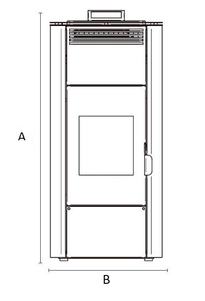 Dimensiones de Estufa de pellets para radiadores de agua AMG MaXlor IDRO
