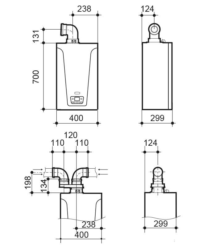 Dimensiones de la Caldera de condensación Baxiroca Neodens Plus ECO