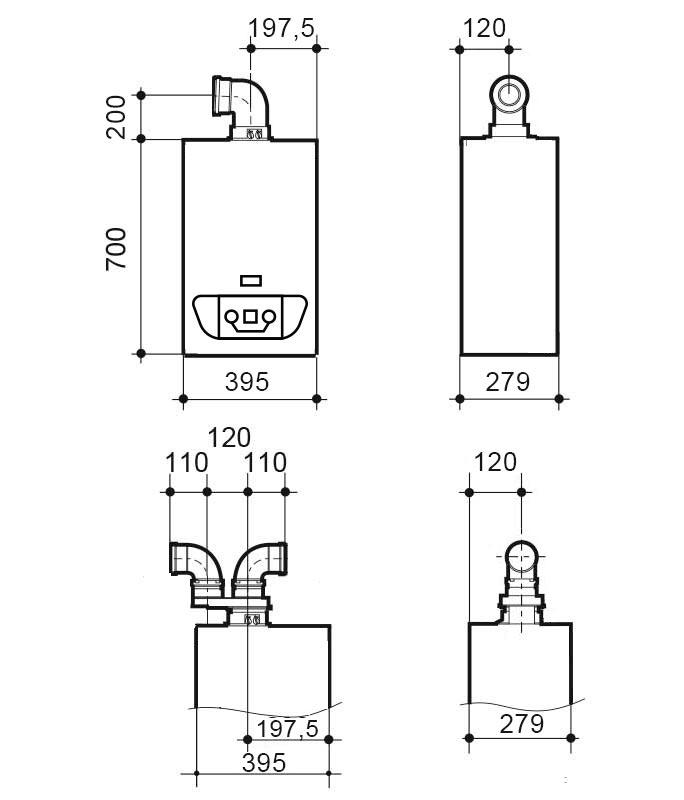 Dimensiones de la Caldera de condensación Victoria Condens 24/24 F