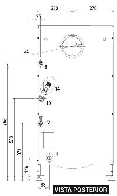 Dimensiones y conexiones Ferroli SILENT eco 30 SI UNIT vista posterior