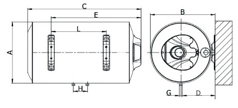 Dimensiones de Termo eléctrico Ferroli TIBER B H horizontal SMART - electrónico digital