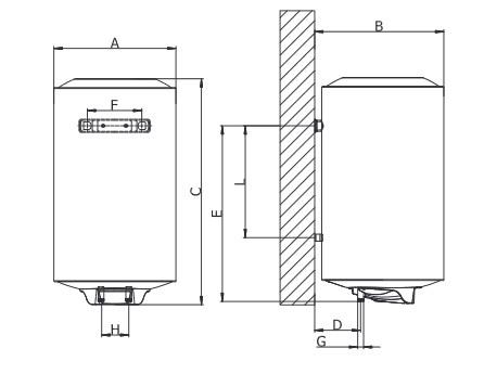 Dimensiones de Termo eléctrico Ferroli TIBER B 30 S vertical SMART - electrónico digital slim
