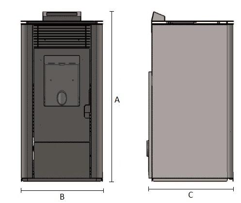 Dimensiones de Estufa de pellets casera de 9 kW AMG Burdeos