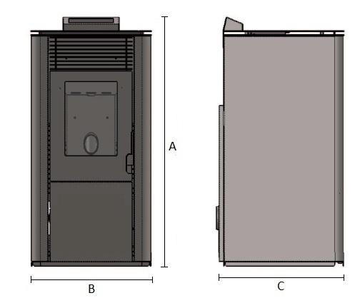 Dimensiones de Estufa de pellets de 13 kW con cámara de hierro fundido AMG Burdeos