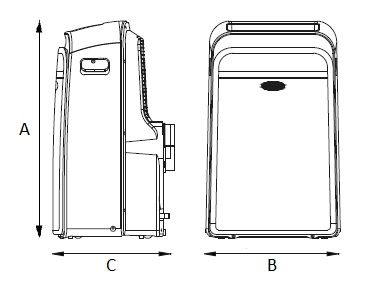 Dimensiones de Aire acondiconador portátil Carrier 51QPD012N7S de 3,5 kW