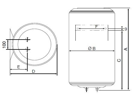 Dimensiones de Termo eléctrico Thermor Concept N4 Vertical mural
