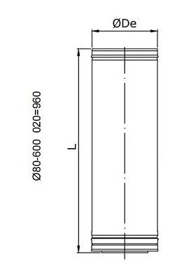 Dimensiones de Tubo de doble pared en acero inoxidable 304/316L Dinak DP de 960 mm