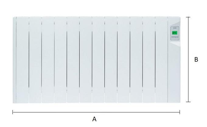 Dimensiones del emisor térmico eléctrico Ducasa AVANT DGP-E-LC 1800 W