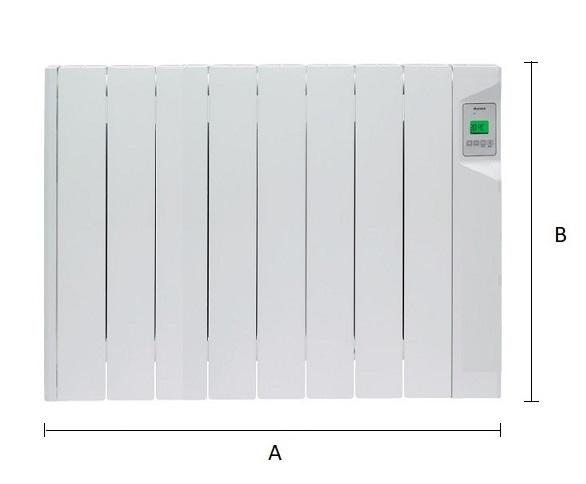 Dimensiones del emisor térmico eléctrico Ducasa AVANT DGP-E-LC 1200 W