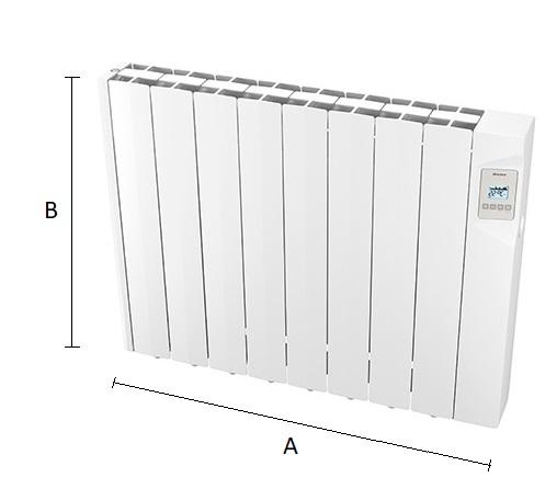 Dimensiones del radiador eléctrico WIFI Ducasa AVANT 1200