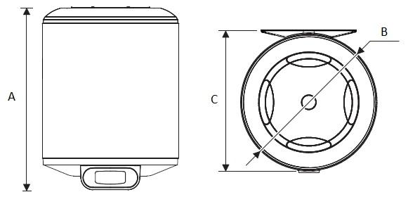 Dimensiones del Termo eléctrico Junkers Elacell Excellence 4000