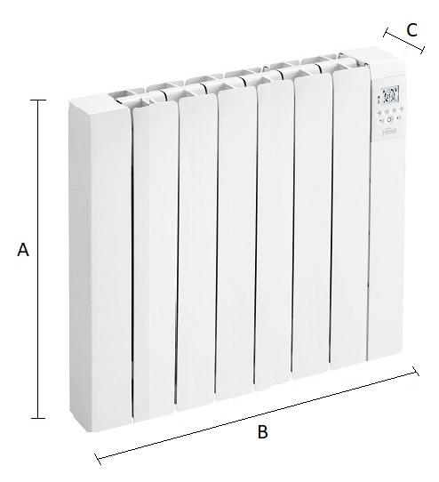 Dimensiones del emisor térmico eléctrico Ferroli Rimini DP 100