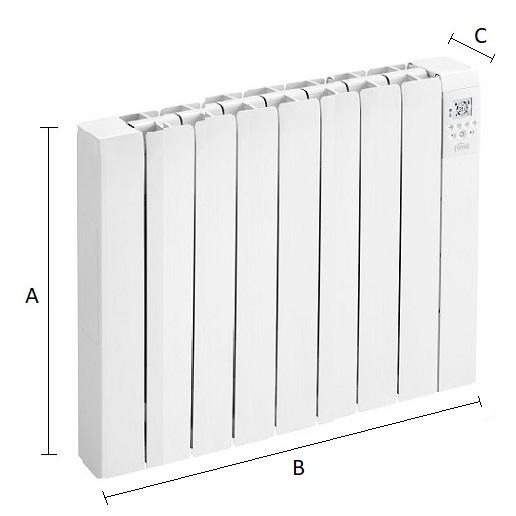 Dimensiones del emisor térmico eléctrico Ferroli Rimini DP 120