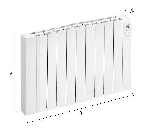 Dimensiones del emisor térmico eléctrico Ferroli Rimini DP 150