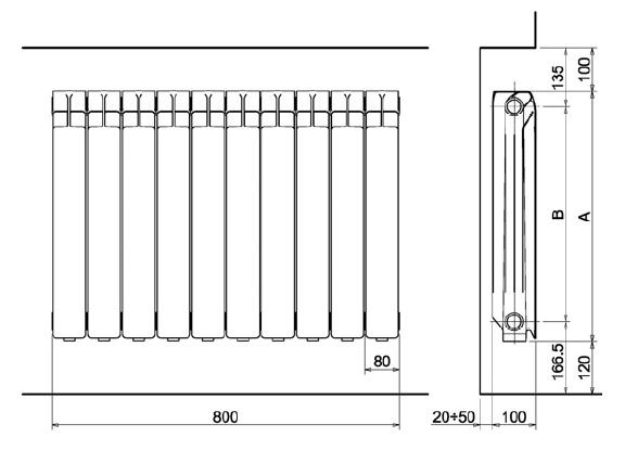 Dimensiones Radiador de aluminio Xian Ferroli