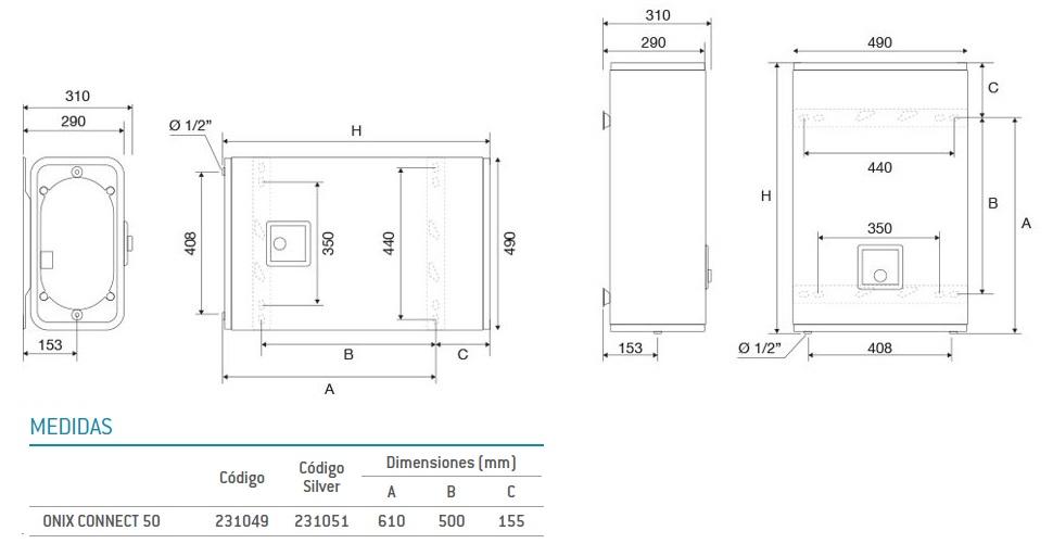 Dimensiones Termo Eléctrico 50L Thermor Onix Conncet