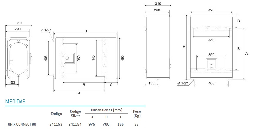 Dimensiones 80 L Thermor Onix Connect