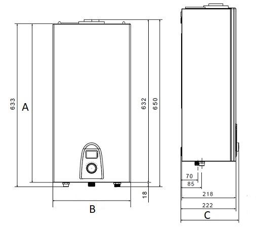 Dimensiones de Calentador estanco a bajo NoX THERMOR TOP SEALED RS ID E