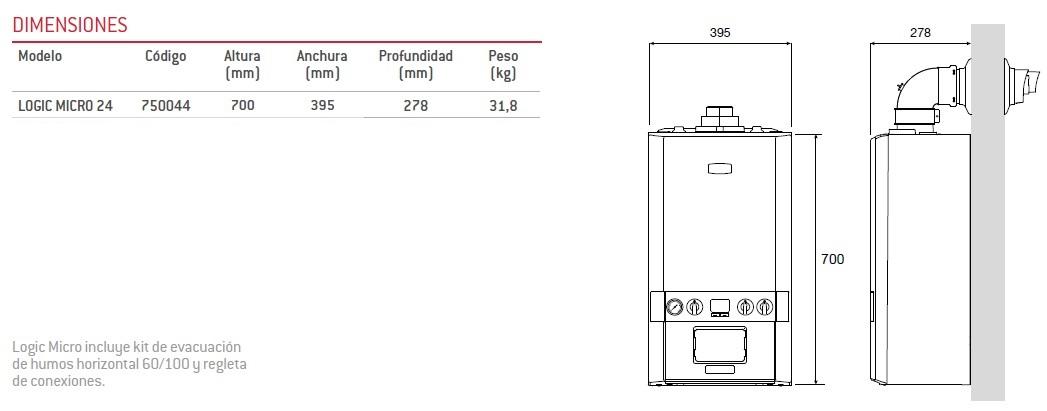 Dimensiones Caldera Thermor Logic Micro 24