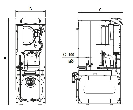 Dimensiones de caldera de gasoil de condensación Ferroli SILENT D eco 30 COND K 100 UNIT