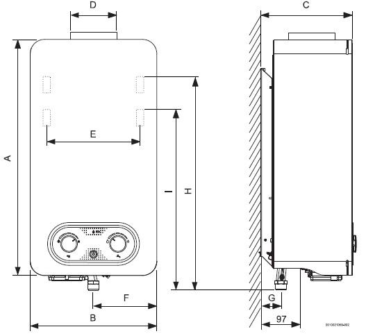 Dimensiones de Calentador Atmosférico bajo NOx Junkers Hydro 4200 WR10-4 KB