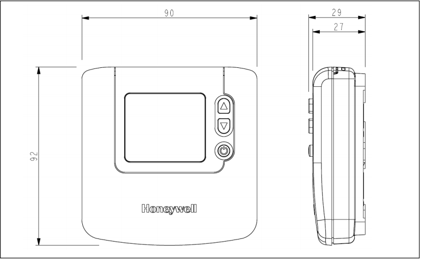 Medidas de Termostato digital ambiente Honeywell DT90E