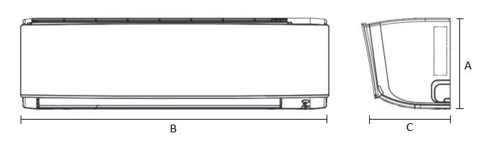 Dimensiones Unidad Interior de Daikin Aire Acondicionado Inverter TXC50C