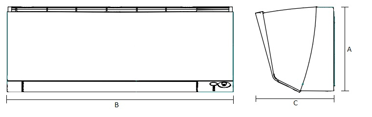 Dimensiones Unidad Interior de Daikin Aire Acondicionado Inverter TXM42R
