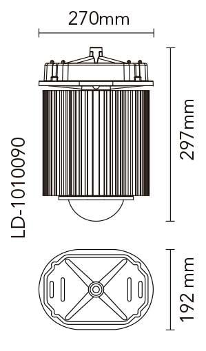 Medidas proyector de la campana industrial Ledisson Industrial Experience LD-1010090