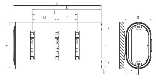 Dimensiones de Termo eléctrico horizontal Ferroli Titano Twin