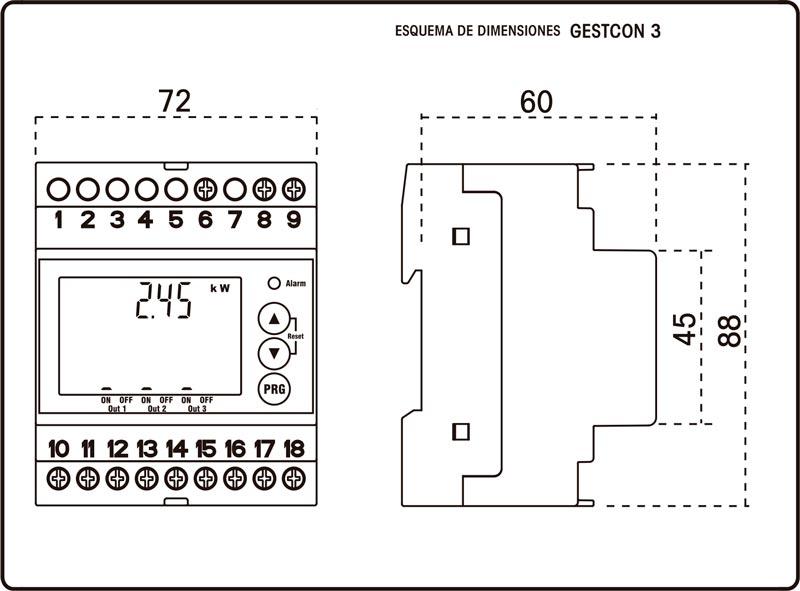 Esquema de dimensiones del gestor de carga GESTCON 3