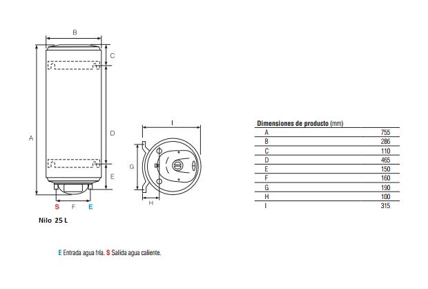 Dimensiones termo eléctrico Fleck eléctrico NILO-25-EU