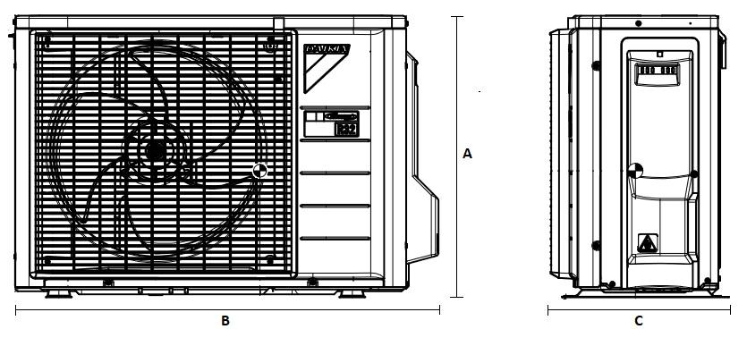 Dimensiones Unidad Exterior de Daikin Aire Acondicionado Inverter TXA35BS