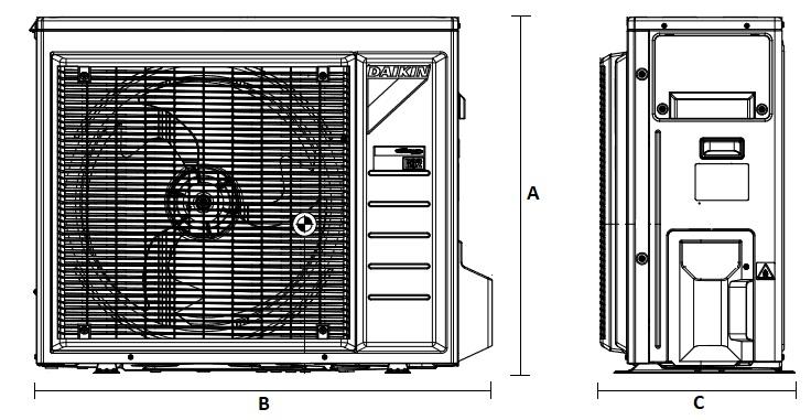Dimensiones Unidad Exterior de Daikin Aire Acondicionado Inverter TXA50BS