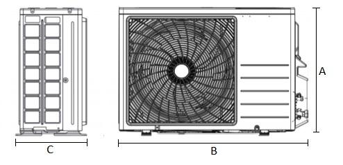 Dimensiones Unidad Exterior de Daikin Aire Acondicionado Inverter TXC50C