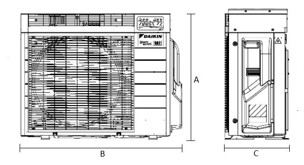 Dimensiones Unidad Exterior de Daikin Aire Acondicionado Inverter TXZ35N