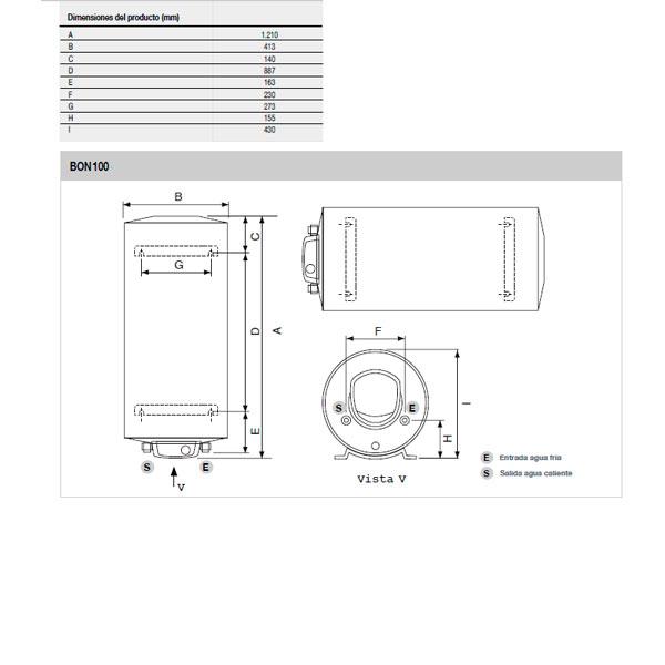 Esquema termo Fleck eléctrico BON-100-EU 100 litros