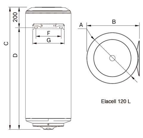 Medidas del termo eléctrico Junkers Elacell 120 L vertical de referencia 7736503377