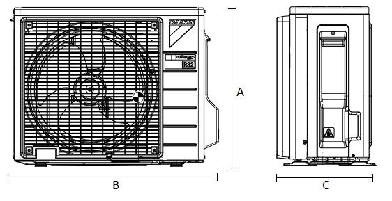 Dimensiones Unidad Exterior de Daikin Aire Acondicionado Inverter TXF42C