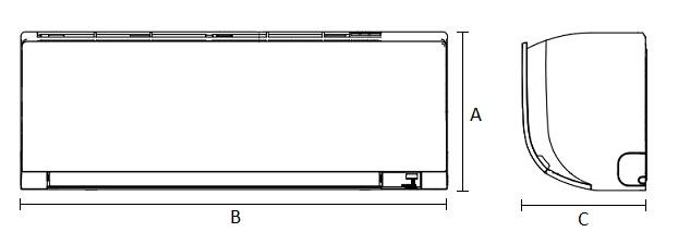 Dimensiones Unidad Interior de Daikin Aire Acondicionado Inverter TXF42C